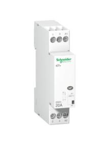ICT A9C15030 - Acti9, iCT+, contacteur silencieux 1P 20A 230VCA, livré avec 1 intercalaire , Schneider Electric