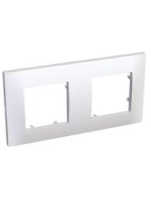 Altira ALB45652 - Altira - plaque blanc 9010 - 2 postes - montage horizontal - entraxe 71mm , Schneider Electric