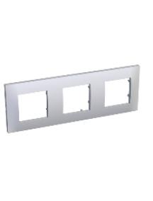 Altira ALB45657 - Altira - plaque blanc 9010 - 3 postes -montage horizontal - entraxe 71mm , Schneider Electric