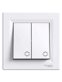 EPH0600121 - Asfora - double 2way switch - 10AX screwless terminals, white , Schneider Electric
