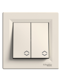 EPH0600123 - Asfora - double 2way switch - 10AX screwless terminals, cream , Schneider Electric