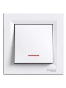 EPH1400121 - Asfora - 1pole switch -10AX screwless, locator light, white , Schneider Electric