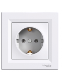 EPH2900121 - Asfora - single socket outlet with side earth - 16A white , Schneider Electric