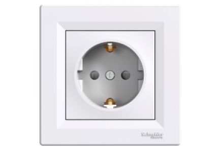 EPH2900221 - Asfora - single socket outlet with side earth - 16A shutters white , Schneider Electric
