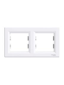 EPH5800221 - Asfora - horizontal 2-gang frame - white , Schneider Electric