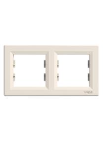 EPH5800223 - Asfora - horizontal 2-gang frame - cream , Schneider Electric
