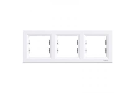 EPH5800321 - Asfora - horizontal 3-gang frame - white , Schneider Electric