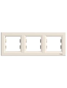 EPH5800323 - Asfora - horizontal 3-gang frame - cream , Schneider Electric