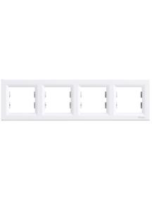 EPH5800421 - Asfora - horizontal 4-gang frame - white , Schneider Electric