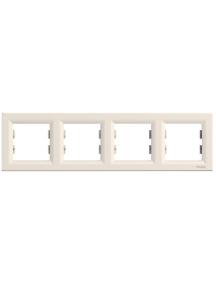 EPH5800423 - Asfora - horizontal 4-gang frame - cream , Schneider Electric