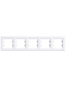 EPH5800521 - Asfora - horizontal 5-gang frame - white , Schneider Electric