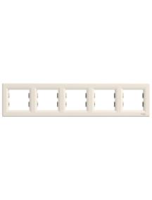 EPH5800523 - Asfora - horizontal 5-gang frame - cream , Schneider Electric