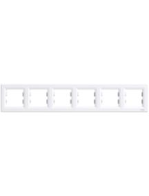 EPH5800621 - Asfora - horizontal 6-gang frame - white , Schneider Electric