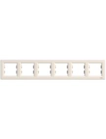 EPH5800623 - Asfora - horizontal 6-gang frame - cream , Schneider Electric