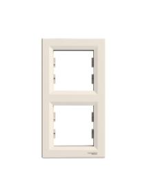 EPH5810223 - Asfora - vertical 2-gang frame - cream , Schneider Electric