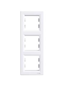 EPH5810321 - Asfora - vertical 3-gang frame - white , Schneider Electric