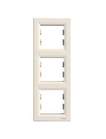 EPH5810323 - Asfora - vertical 3-gang frame - cream , Schneider Electric