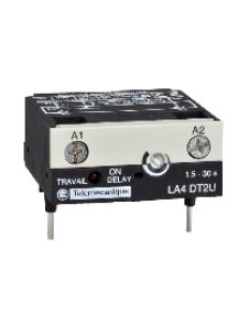 TeSys D LA4DT0U - TeSys CA - module temporisateur électro. - type travail 0.1..2s - 24..250Vcc/ca , Schneider Electric
