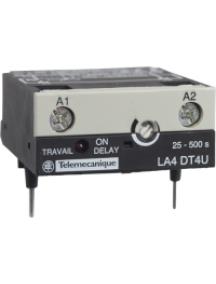 TeSys D LA4DT4U - TeSys CA - module temporisateur électro. - type travail 25..500s - 24..250Vcc/ca , Schneider Electric