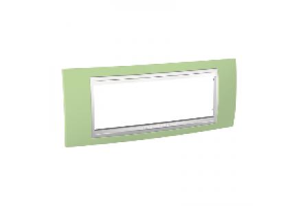 Unica MGU6.106.863 - Unica - cover frame - 6 modules - apple green/white , Schneider Electric