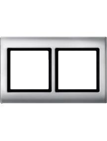 Merten Aquadesign MTN400260 - Aquadesign - plaque de finition standard - 2 postes - aluminium , Schneider Electric
