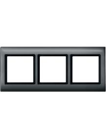 Merten Aquadesign MTN400314 - Plaques de finition Aquadesign à vis, 3 postes, anthracite , Schneider Electric
