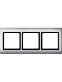 Merten Aquadesign MTN400360 - Aquadesign - plaque de finition standard - 3 postes - aluminium , Schneider Electric