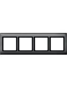 Merten Aquadesign MTN400414 - Plaques de finition Aquadesign à vis, 4 postes, anthracite , Schneider Electric