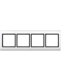 Merten Aquadesign MTN400419 - Plaques de finition Aquadesign à vis, 4 postes, blanc , Schneider Electric