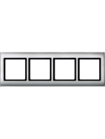 Merten Aquadesign MTN400460 - Plaques de finition Aquadesign à vis, 4 postes, aluminium , Schneider Electric