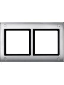 Merten Aquadesign MTN401260 - Aquadesign - plaque de finition à vis - 2 postes - aluminium , Schneider Electric