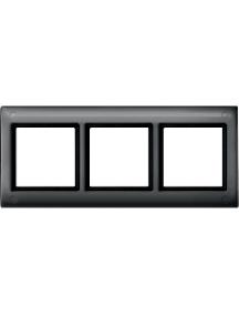 Merten Aquadesign MTN401314 - Plaques de finition Aquadesign standard, 3 postes, anthracite , Schneider Electric