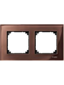 MTN4020-3215 - M-Plan Verre Acajou, plaque de finition 2 postes horiz. ou vert. entraxe 71mm , Schneider Electric