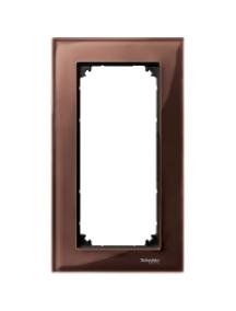 MTN4025-3215 - M-Plan Verre Acajou, plaque de finition double (prise rasoir) vertical , Schneider Electric