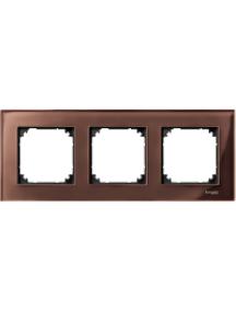 MTN4030-3215 - M-Plan Verre Acajou, plaque de finition 3 postes horiz. ou vert. entraxe 71mm , Schneider Electric