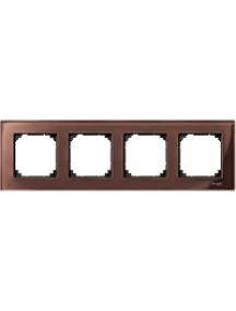 MTN4040-3215 - Real glass frame, 4-gang, Mahogany brown, M-Elegance , Schneider Electric