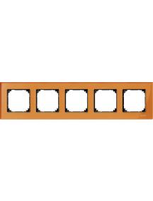 MTN404502 - Real glass frame, 5-gang, Calcite orange, M-Elegance , Schneider Electric