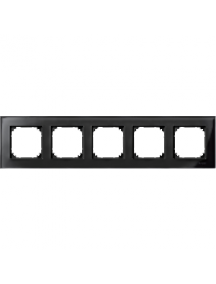 MTN404503 - Real glass frame, 5-gang, Onyx black, M-Elegance , Schneider Electric