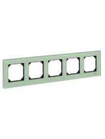 MTN404504 - Real glass frame, 5-gang, Emerald green, M-Elegance , Schneider Electric