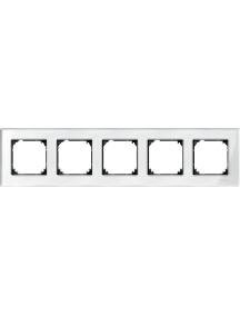 MTN404519 - Real glass frame, 5-gang, Brilliant white, M-Elegance , Schneider Electric
