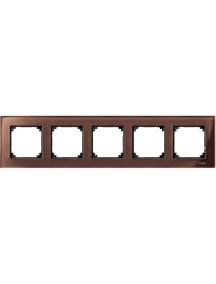 MTN4050-3215 - Real glass frame, 5-gang, Mahogany brown, M-Elegance , Schneider Electric