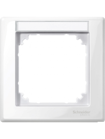 MTN470119 - M-Smart frame, 1-gang with labelling bracket, polar white, glossy , Schneider Electric