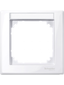 MTN470125 - M-Smart frame, 1-gang with labelling bracket, active white, glossy , Schneider Electric