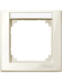 MTN470144 - M-Smart frame, 1-gang with labelling bracket, white, glossy , Schneider Electric