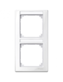 MTN470219 - M-Smart frame, 2-gng w. label.bracket, vertical installation, pol. wht., glossy , Schneider Electric