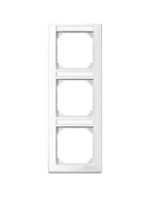 MTN470319 - M-Smart frame, 3-gng w. label.bracket, vertical installation, pol. wht., glossy , Schneider Electric