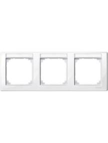 MTN471319 - M-Smart frame, 3-gng w. label.bracket, horizontal installation, pol.wht., glossy , Schneider Electric