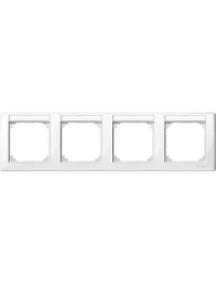 MTN471419 - M-Smart frame, 4-gng w. label.bracket, horizontal installation, pol.wht., glossy , Schneider Electric