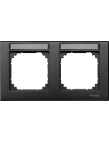 MTN472214 - Plaque finition double M-Plan, à porte-étiquette, montage horizontal, anthracite , Schneider Electric