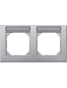 MTN472260 - Plaque finition double M-Plan, à porte-étiquette, montage horizontal, aluminium , Schneider Electric